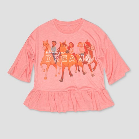 Girls' Spirit Riding Free 'Dreams' Short Sleeve T-Shirt - Peach - image 1 of 2