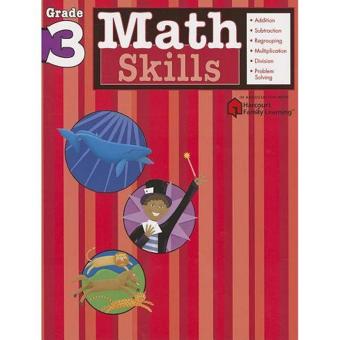 Math Skills, Grade 3 - (Flash Kids Harcourt Family Learning) (Paperback) - image 1 of 1