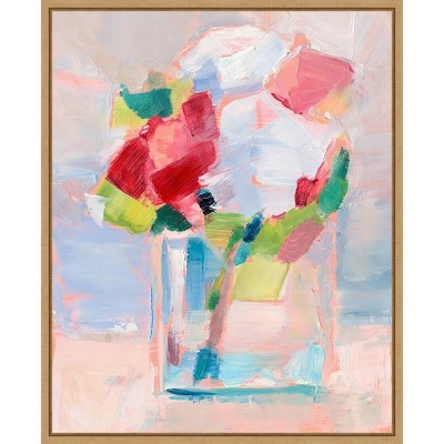 "16"" x 20"" Abstract Flowers in Vase II by Ethan Harper Framed Canvas Wall Art - Amanti Art"