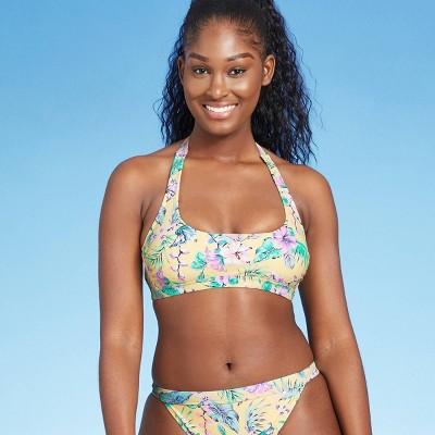 Juniors' Halter Bralette Bikini Top - Xhilaration™ Yellow Tropical Print