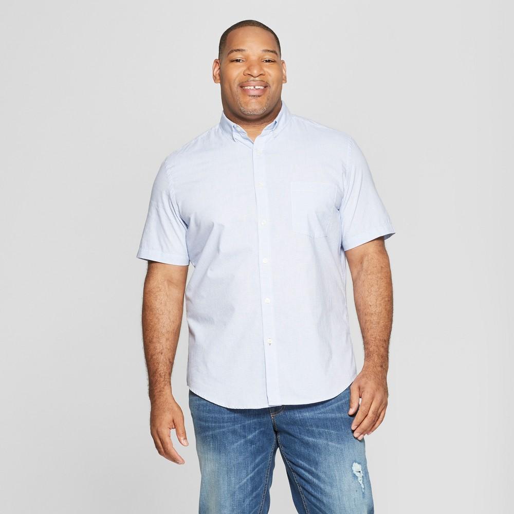 Men's Big & Tall Striped Standard Fit Short Sleeve Poplin Button-Down Shirt - Goodfellow & Co Amparo Blue 3XBT