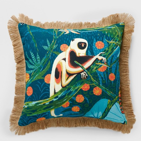 Monkey Fringe Outdoor Pillow Green - Opalhouse™ - image 1 of 3