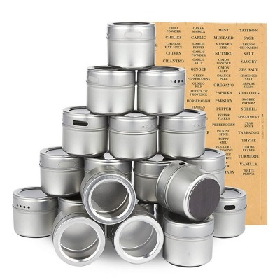 20-Pack Magnetic Spice Containers Storage Tins Seasoning Organizers Holds 3.4 Oz