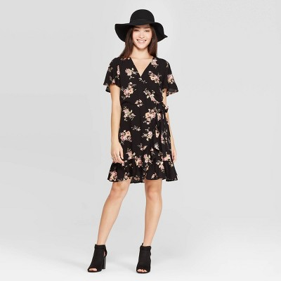 Women's Floral Print Short Sleeve V Neck Neck Ruffle Bottom Wrap Mini Dress   Xhilaration™ Black by Xhilaration