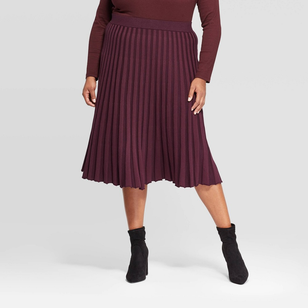 Image of Women's Plus Size Midi Sweater Skirt - A New Day Burgundy 4X, Size: 4XL, Red