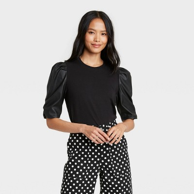 Women's Faux Leather Puff 3/4 Sleeve T-Shirt-Who What Wear™