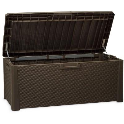 Toomax Santorini Plus Lockable Deck Storage Box Bench for Outdoor Pool Patio Garden Furniture & Indoor Toy Bin Container, 145 Gallon (Brown)