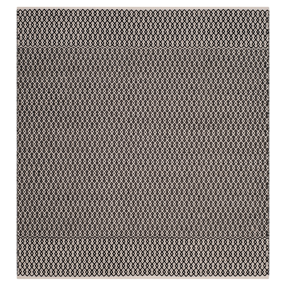 Ivory/Black Abstract Woven Square Area Rug - (6'X6') - Safavieh