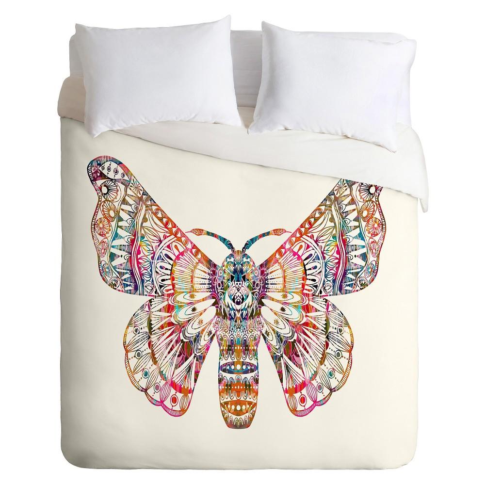 Stephanie Corfee Artsy Moth Duvet King Pink - Deny Designs, White Multicolored