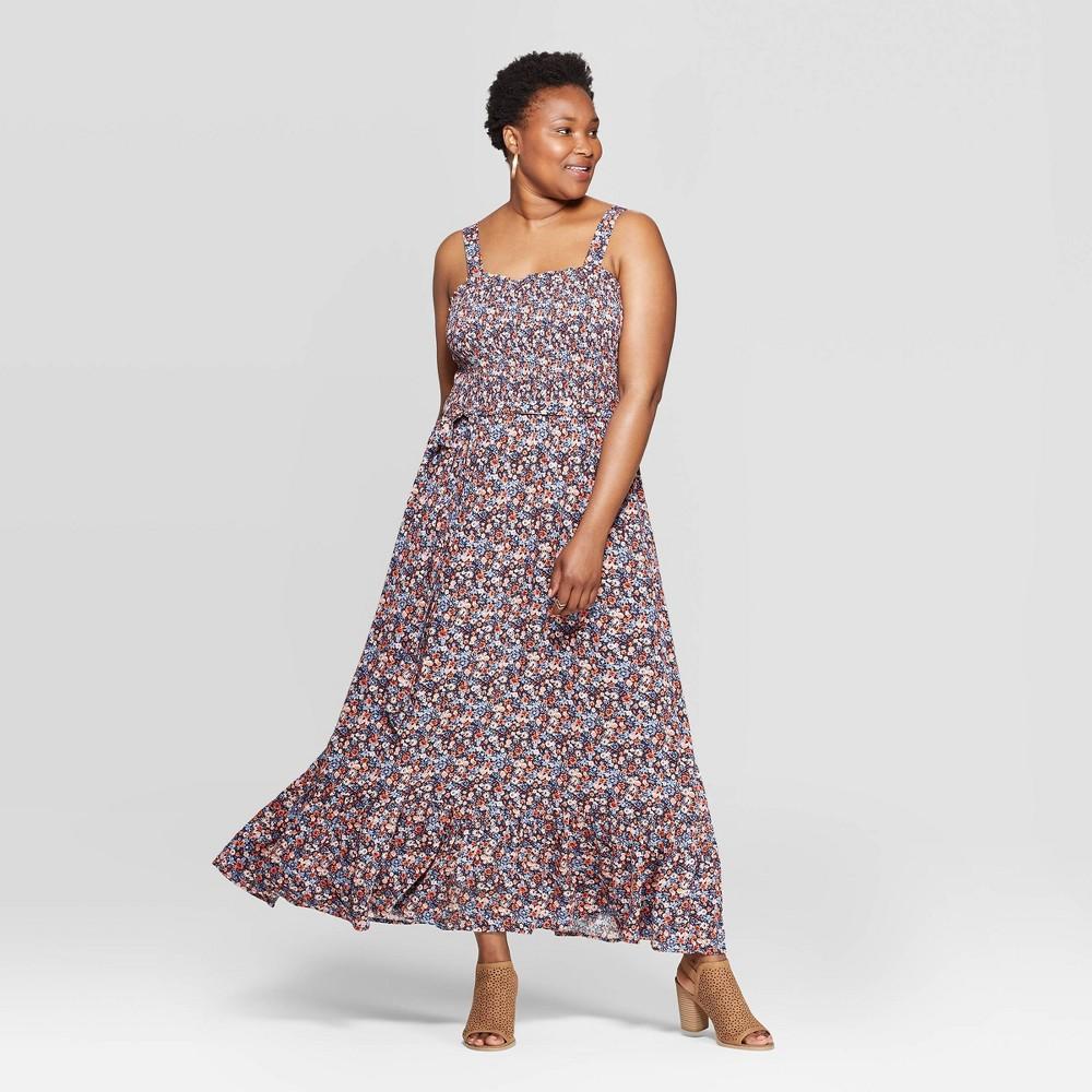 0f69ec27d8a3d6 Womens Plus Size Floral Print Sleeveless Square Neck Shoulder Tie Maxi  Dress Universal Thread Navy 3X Blue