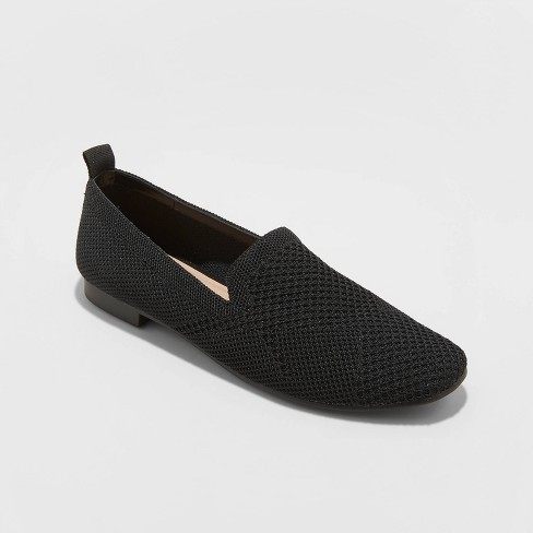 Women's Chantel Microsuede Knitted Flat Loafers - A New Day™ Black - image 1 of 3
