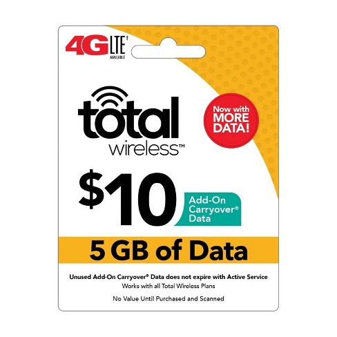 Total Wireless $10 Add-On Carryover Data Card (Email Delivery) - image 1 of 1