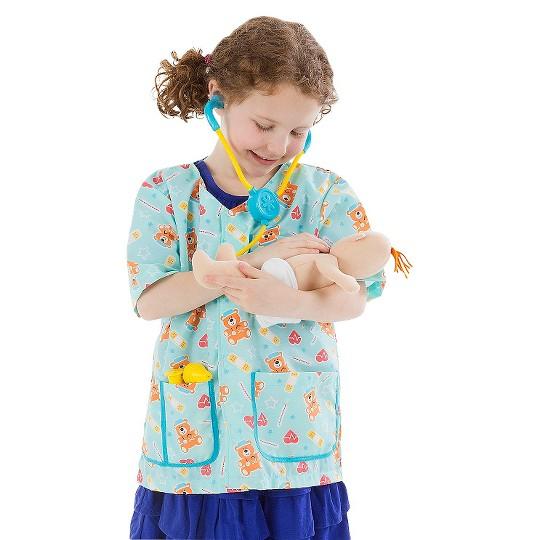 Melissa & Doug Pediatric Nurse Role Play Costume Set (8pc) - Includes Baby Doll, Stethoscope, Adult Unisex, Size: Newborn, Gold image number null