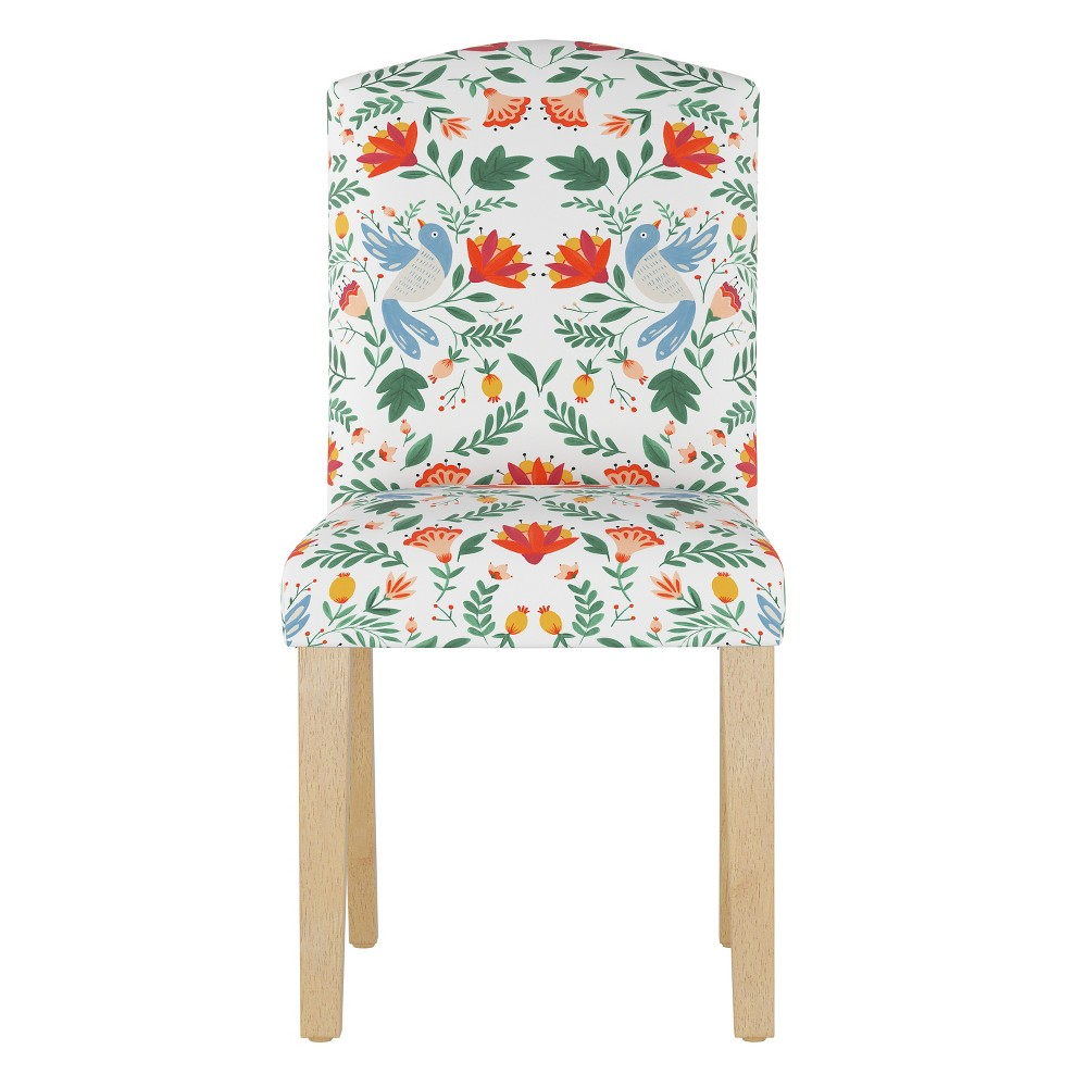 Lucy Camel Back Dining Chair Orange/White Floral - Cloth & Co.