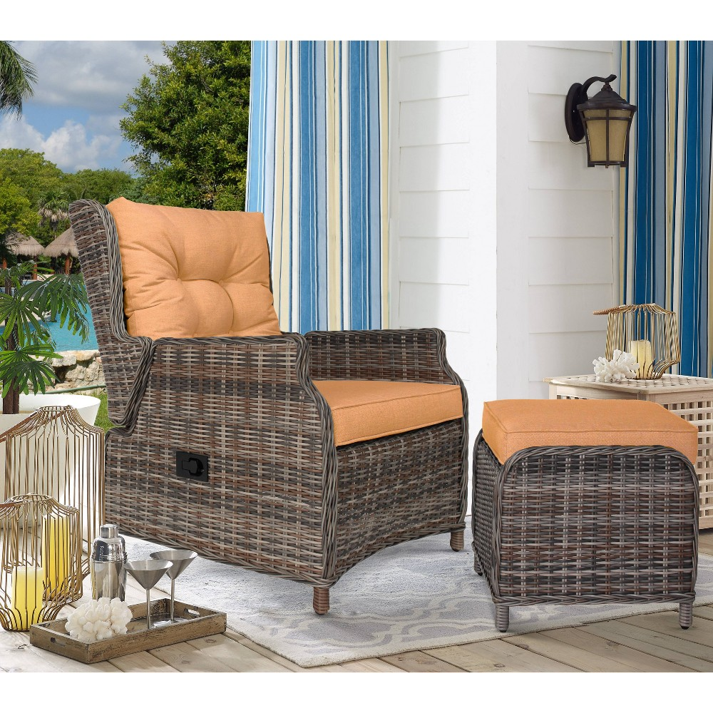 Image of Caitlynn Outdoor Patio Recliner with Ottoman Orange - Relax-A-Lounger