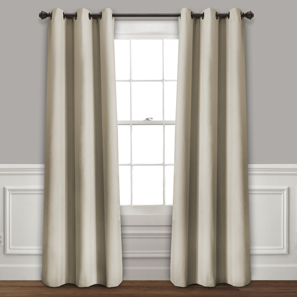 Set of 2 (95x38) Absolute Blackout Window Curtain Panels Taupe - Lush Décor Buy