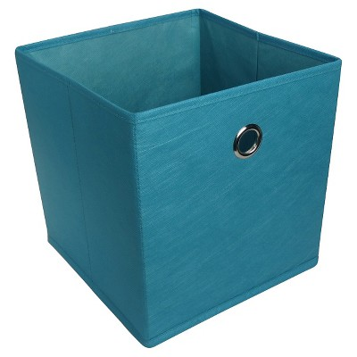 "11"" Fabric Cube Storage Bin Dark Blue - Room Essentials™"