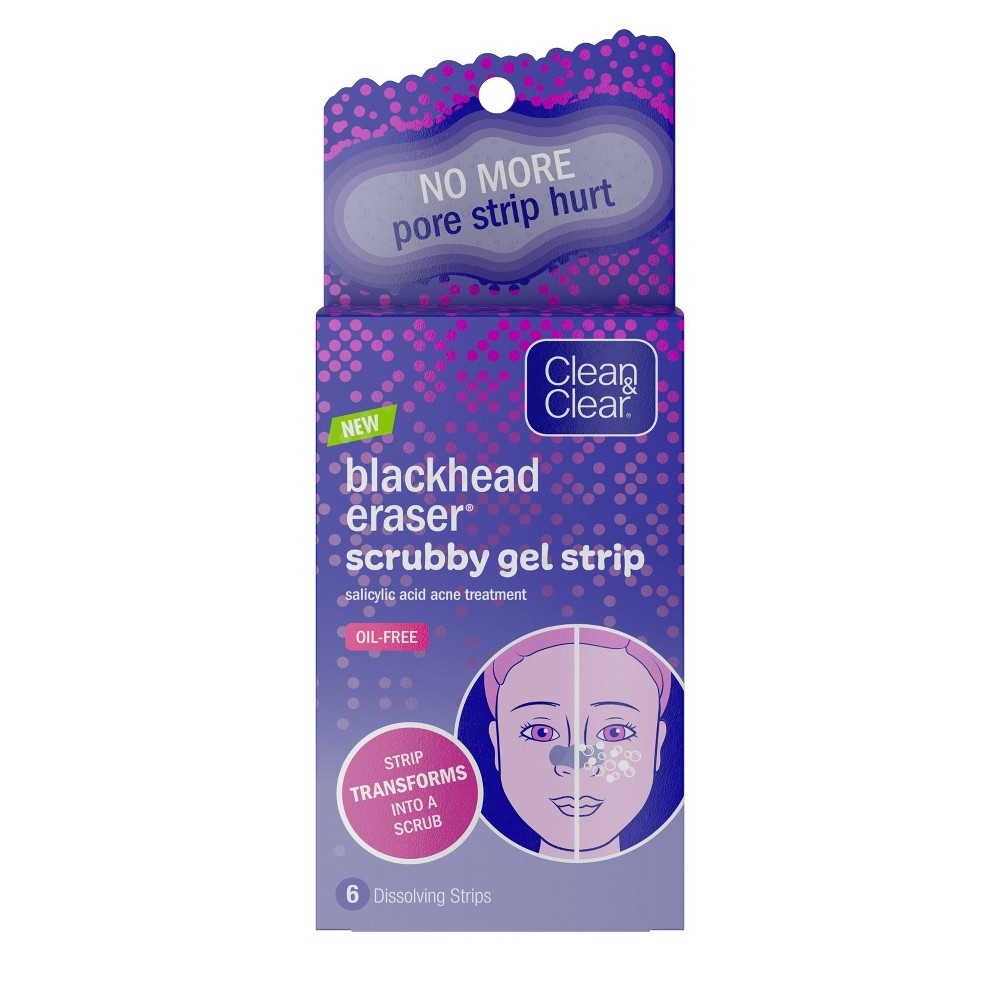 Image of Clean & Clear Blackhead Eraser Scrubby Gel Strips - 6ct