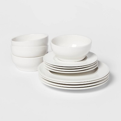 12pc Stoneware Everyday Dinnerware Set White - Threshold™