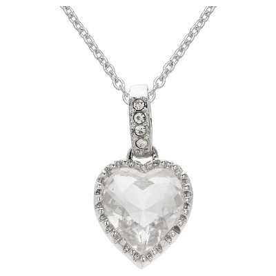 "Heart Pendant in Silver Plate with Clear Crystals from Swarovski - Clear/Gray (18"")"
