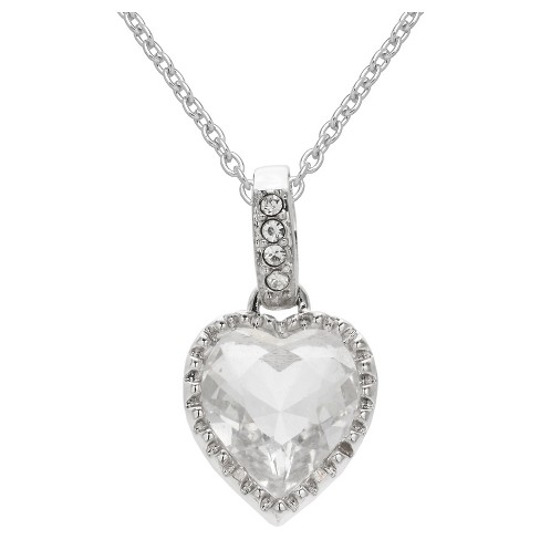 """Heart Pendant in Silver Plate with Clear Crystals from Swarovski - Clear/Gray (18"""") - image 1 of 1"""