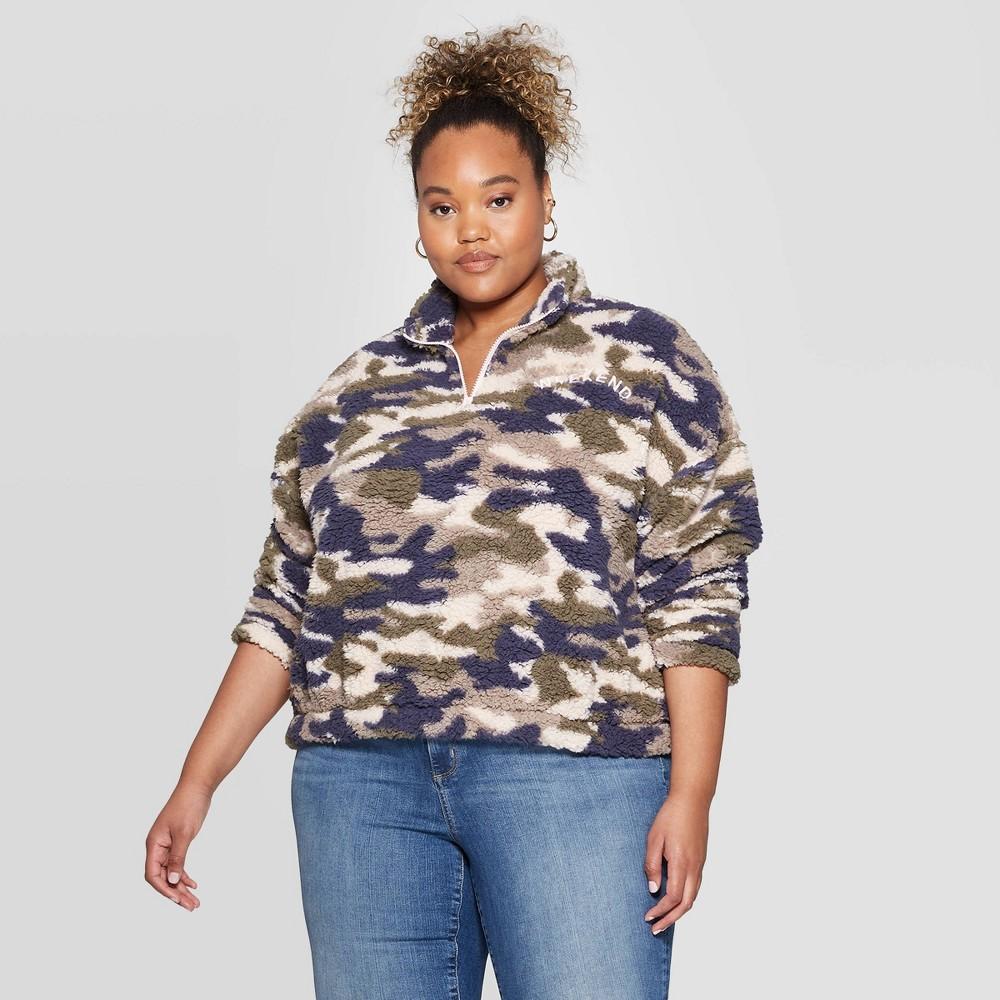 Image of Women's Camo Print Weekend Plus Size 1/4 Zip Long Sleeve Sherpa Sweatshirt - Grayson Threads (Juniors') - Green 1X, Women's, Size: 1XL