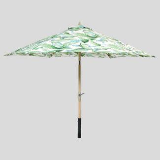 9' Round Vacation Tropical Patio Umbrella Green - Light Wood Pole - Threshold™