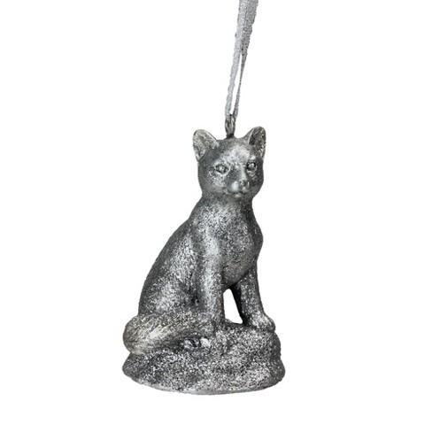 "Roman 3.5"" Glittered Snow Fox Christmas Ornament - Silver - image 1 of 2"
