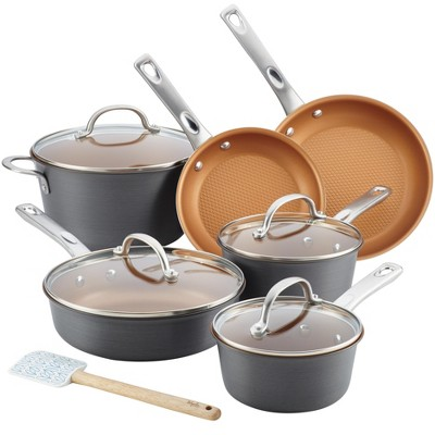 Ayesha Curry 11pc Home Collection Hard Anodized Aluminum Cookware Set