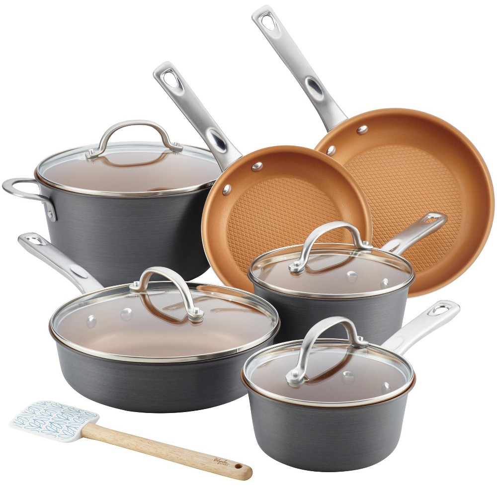 Ayesha Curry 11pc Home Collection Hard Anodized Aluminum Cookware Set, Gray