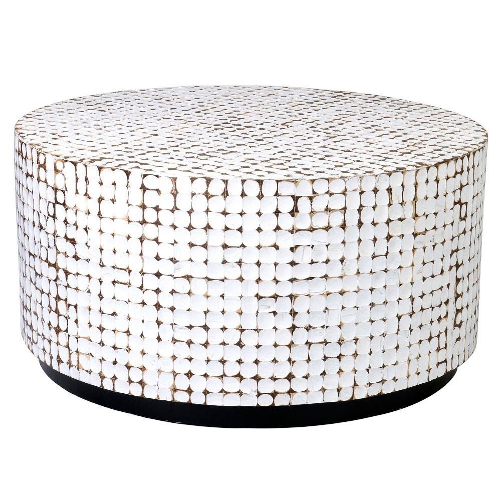 Cummings Coconut Shell Coffee Table White - East At Main