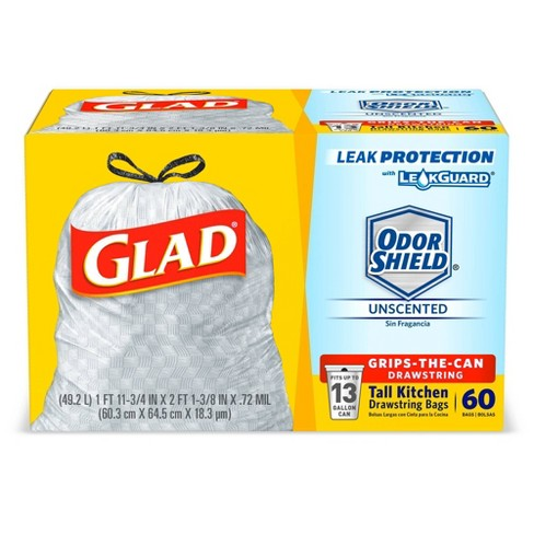 Glad Tall Kitchen Drawstring Trash Bags 13 Gallon 60ct