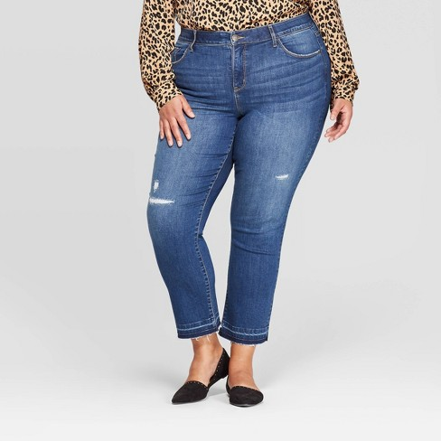 Women's Plus Size Straight Leg Jeans with Destruction - Ava & Viv™ Medium Wash - image 1 of 3