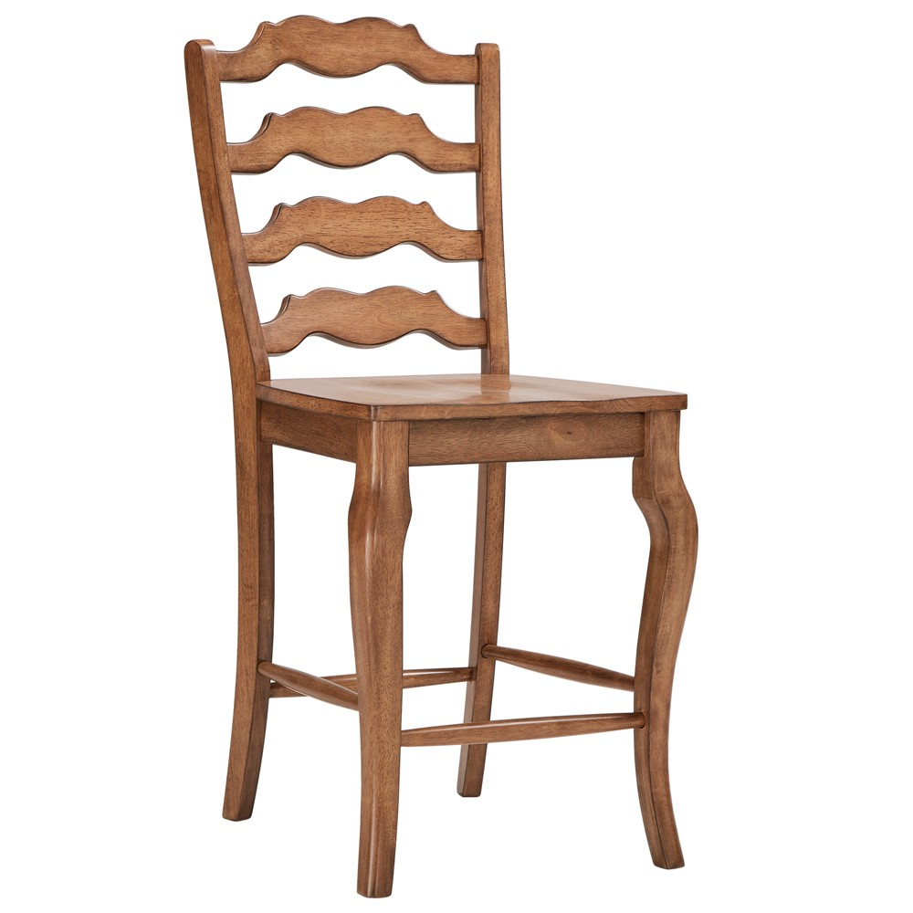 South Hill French Ladder Back 24 in. Counter Chair (Set of 2) - Oak (Brown) - Inspire Q