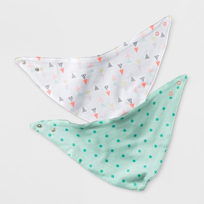 Baby Girls' 2pk Geo Bright Bandana Bib - Cloud Island™ Mint