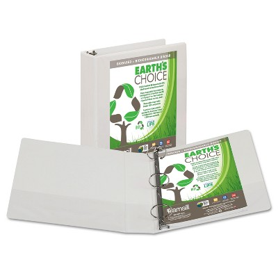 """Samsill Earth's Choice Biobased + Biodegradable Round Ring View Binder 2"""" Cap White 18967"""