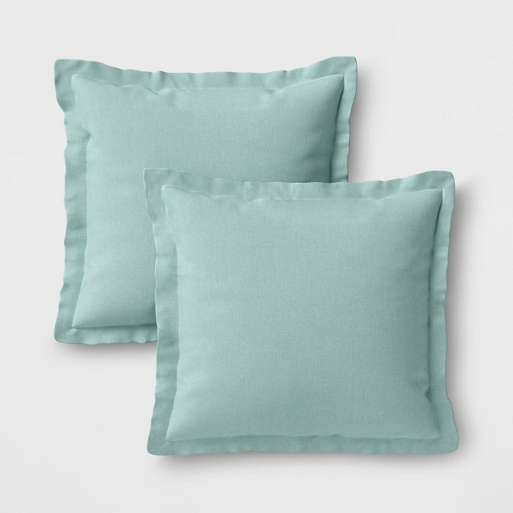 Image of 2pk Outdoor Throw Pillows DuraSeason Fabric Aqua - Threshold