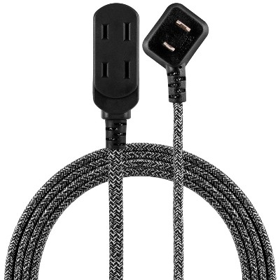Cordinate 8' 3 Outlet Polarized Extension Cord Black/White