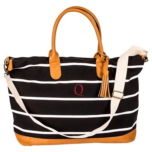 Cathy's Concepts Women's Monogram Weekender Bag - Black Stripe Q - image 1 of 3