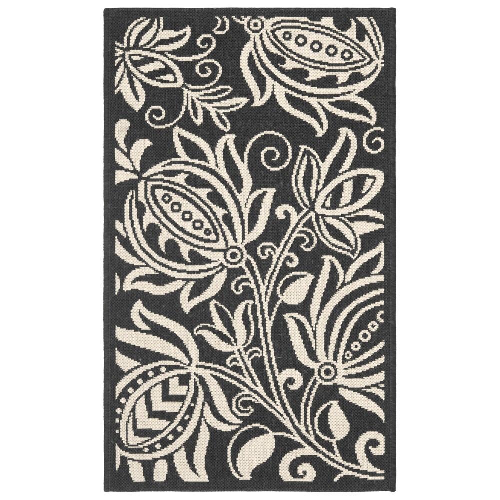 Gori 4' x 5'7 Outdoor Rug Black/Sand (Black/Brown) - Safavieh