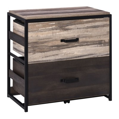 Vinsetto Lateral File Cabinet with 2 Drawers Hanging Filing Folder Industrial Home Office Organizer for A4 Letter Legal Size