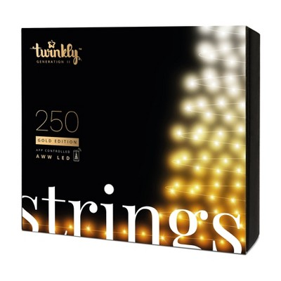Twinkly TWS250GOP-GUS 250 LED White and Amber 65 ft. Outdoor Christmas String Lights, Bluetooth and WiFi Controlled for Home, Classroom, Dorm Room