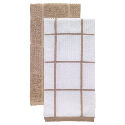 2pk Parquet Kitchen Towels Tan - T-Fal