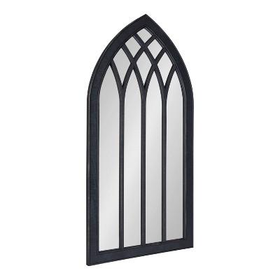 "24"" x 48"" Winn Wood Framed Arch Decorative Wall Mirror Black - Kate & Laurel All Things Decor"