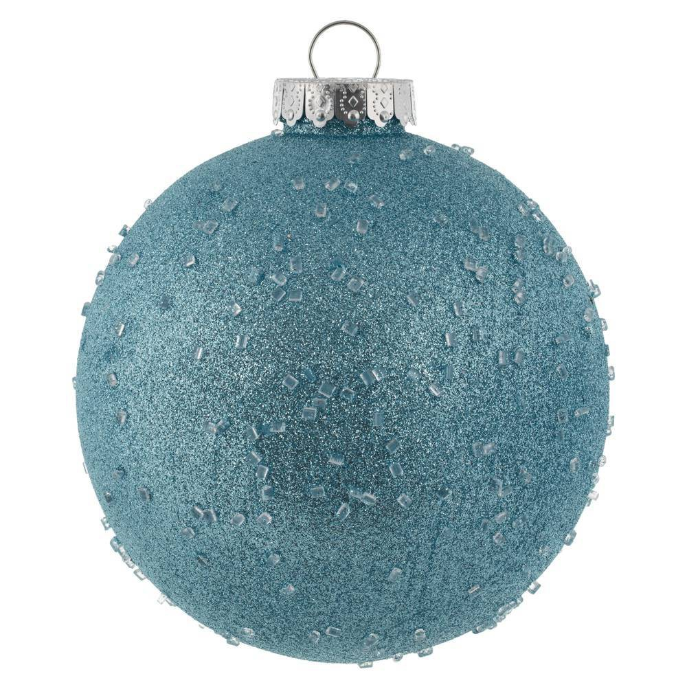 "Image of ""4ct Vickerman 6"""" Ornament Ball Baby Blue Ice"""