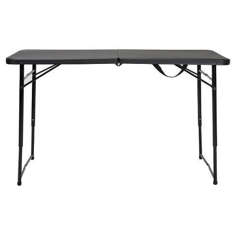 Indoor Outdoor Adjustable Height Foldinggate Table 4 Ft Black Cosco Target