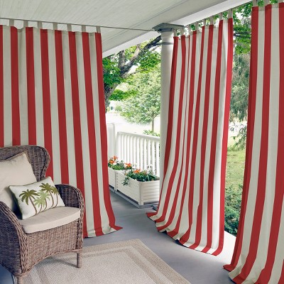 Highland Stripe Indoor/Outdoor Window Curtain for  Patio, Pergola, Porch, Cabana, Deck, Lanai - Elrene Home Fashions