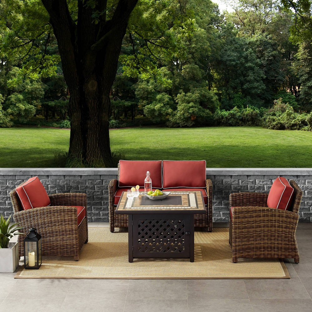 4pc Bradenton Outdoor Wicker Seating Set with Sangria Cushions Brown - Crosley