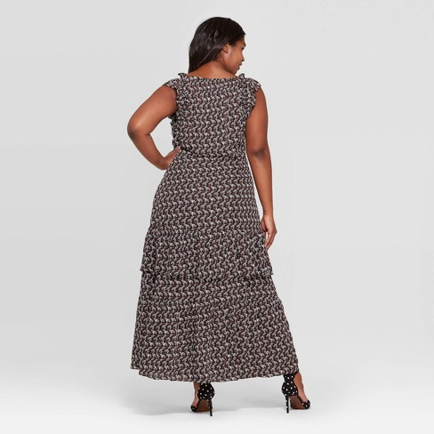 e16a32b5285 Women s Plus Size Floral Print Cap Sleeve Boat Neck Ruffle Tiered Maxi Dress  - Who What Wear™ Black