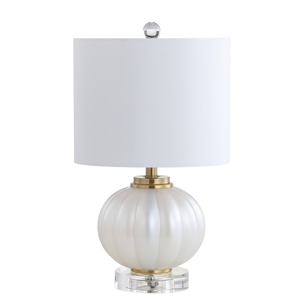 "Image of ""17.5"""" Pearl Glass/Crystal LED Table Lamp White/Gold (Includes Energy Efficient Light Bulb) - JONATHAN Y"""